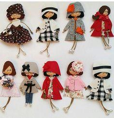 Items similar to Doll brooch on Etsy - Her Crochet Fabric Brooch, Felt Brooch, Brooches Handmade, Handmade Toys, Fabric Dolls, Fabric Art, Doll Crafts, Sewing Crafts, Sewing Dolls