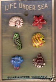 """life under sea"" vintage realistic glass button set"