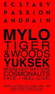 Mylo, etc @ XOYO - 2012 Poster Design Inspiration, Tiger Woods, Artwork Prints, Flyers, Moonlight, London, My Style, Face, Ruffles