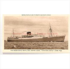 Shipping Postcard - Union Castle Line - RMMV Capetown Castle - on eBid United Kingdom Royal Mail, East Africa, Cape Town, Vintage Postcards, United Kingdom, Boats, Cruise, Castle, Ships