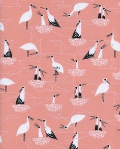 Stork Nest Pink From Porto With Love Collection By Sarah Watts for Cotton & Steel Fabrics, Stork Bird Nest Stork Bird, Baby Stork, Fabric Factory, Baby Girl Bedding, Japan Post, Japan Japan, Japanese Fabric, Geometric Background, Modern Fabric