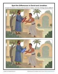 Children's Bible Activity - Spot the Differences in David and Jonathan Bible Activities For Kids, Sunday School Activities, Bible Lessons For Kids, Sunday School Lessons, Bible For Kids, David Y Jonatán, David And Jonathan, Children's Bible, Bible Verses