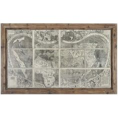 Dariel Industrial Loft Rustic Framed Antique World Map (4 005 SEK) ❤ liked on Polyvore featuring home, home decor, wall art, framed wall art, map wall art and map home decor