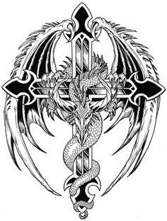 Black and White Cross Tattoos | Asian Dragon Tattoos on Winged Dragon And Cross Tattoo Drawing