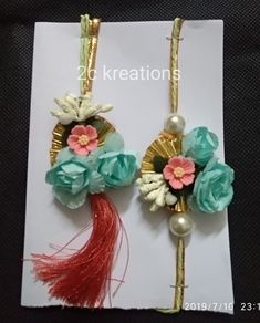 Lumba rakhi set for bhayya n bhabhi Diy Fabric Jewellery, Beaded Jewelry, Flower Diy, Diy Flowers, Quilling Rakhi, Handmade Rakhi Designs, Rakhi Making, Simple Arabic Mehndi Designs, Handmade Decorations