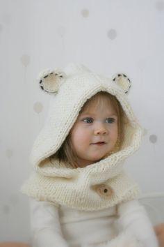 KNITTING PATTERN polar bear hooded cowl Popi baby toddler