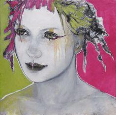 Inspirées par sa fille, artiste de cirque, les œuvres de Joann Dumouchel représentent des jeunes filles mélancoliques, fragiles,et mystérieuses.
