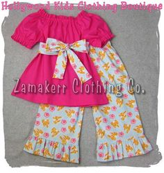 Custom Boutique Baby Girl Clothes Clothing Pink Peasant Dress Top w/ Sash and Ruffle Pant Outfit Set. $32.99, via Etsy.