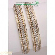 89e739ab178 18K Gold Diamond Bangles - Set of 2 (1 Pair) - 235-DBL120