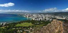 View of Waikiki Beach from top of Diamond Head ~ Hawaii