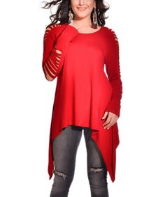 Look what I found on #zulily! Cherry Cutout-Sleeve Sidetail Top - Plus #zulilyfinds