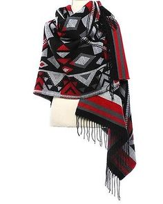 Red & Black Abstract Design Blanket Infinity Scarf