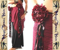 HIP TASSEL & Belly Dance Hair Fall clip Red Passion for GOTH Tribal Fusion hip scarf Fantasy yarn falls gipsy costume accessory extension via Etsy Tribal Costume, Costume Accessories, Dance Accessories, Tribal Dance, Gypsy Chic, Dance Hairstyles, Tribal Fusion, Belly Dance Costumes, Dance Outfits