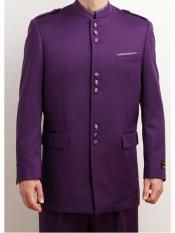 Apollo King men's 2 piece luxurious wool feel nehru style suit comes with standard length jacket. This unique single breasted 9 button jacket includes mandarin collar, besom hanky pocket, flap side pockets and no vents. 2 piece suit comes with double plea Purple Tuxedo, Purple Suits, Mens White Suit, White Suits, Dress Suits For Men, Nehru Jackets, Indian Wedding Outfits, Suit Fashion, Mens Fashion