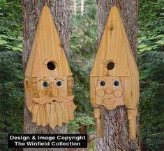 All Bird Project Plans & Patterns - Gnome Couple Birdhouse Pattern Bird Nesting Box, Nesting Boxes, Garden Projects, Wood Projects, Bird People, Bird House Plans, Bird Aviary, Bird Houses Diy, Gnome House