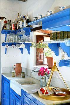 Marble sink, Greek kitchen