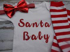 Santa Baby Glitter Onesie shirt bow headband by sydneysbowtique