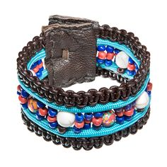 Brown leather bracelet with paracord and beads