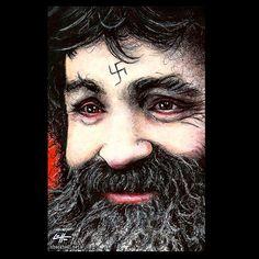 Print 11x17  Charles Manson  Dark Art True Crime by chuckhodi (Art & Collectibles, Drawing & Illustration, charles manson, helter skelter, dark art, horror, cult, serial killers, murder, beard, pop art, lowbrow art, true crime, hippy, serial killer)
