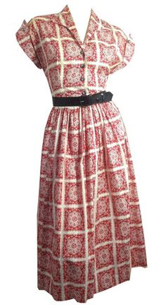 Candy Red Folkloric Print Dress w/ Rhinestone Buttons circa 1950s - Dorothea's Closet Vintage