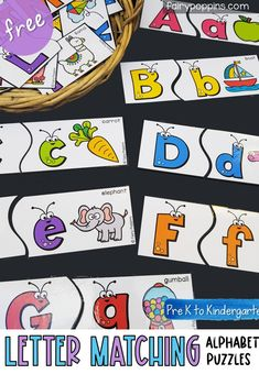 These letter matching puzzles help kids learn about the alphabet and beginning sounds. They are suitable for kids in preschool or kindergarten. Early Learning Activities, Alphabet Activities, Preschool Activities, Kids Learning, Letter Identification Activities, Prek Literacy, Vowel Activities, Alphabet Crafts, Literacy Centers