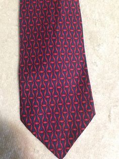 Hermes Paris Men's Neck Tie Geometric Intertwined Classic Red and Blue Chain