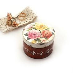Shabby chic Roses bouquet  Wooden Box Marriage by Alenahandmade, $15.00