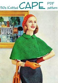 "Vintage 50s Knitted ""CAPELET"" Swing Jacket PDF Pattern"
