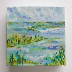 """This is an original acrylic painting on a mini streatched canvas. These mini paintings are available in limited editions, and the 6"""" x 6"""" paintings continue over the 1.5"""" edges. Each painting within t"""