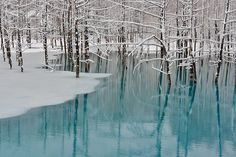Blue Pond-Spring Snow in Hokkaido Kent Shiraishi