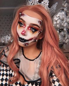 The Amazingly Scary Makeup Art of Monika Falcik - Halloween 2019 - Maquillage Halloween Clown, Creepy Halloween Makeup, Amazing Halloween Makeup, Scary Makeup, Halloween Makeup Looks, Makeup Art, Makeup Ideas, Halloween Halloween, Cute Clown Makeup