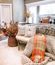 Best farmhouse living room decor ideas, living room interior design tips Fall Living Room, Fall Bedroom, Living Room Decor, Bedroom Decor, Bedroom Ideas, Bedroom Crafts, King Bedroom, Fall Room Decor, Hobby Lobby Fall Decor