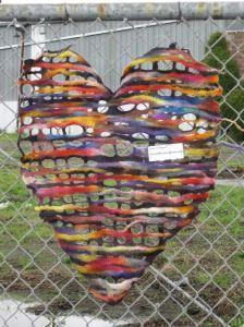 Felted wool Valentine yarn bomb