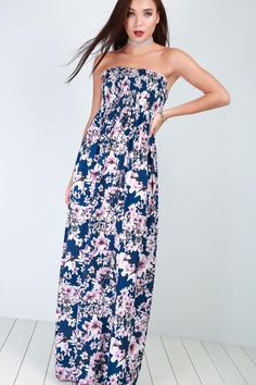 29c160b71a JENNI FLORAL MAXI DRESS £14.00 All Over Floral Print And Strapless Sheering  Bust Line