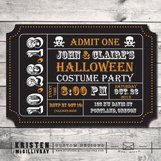 Fiesta de Halloween Invitación DIY- digital Archivo- Printable- Admisión Invitación Movie Ticket- boleto del carnaval
