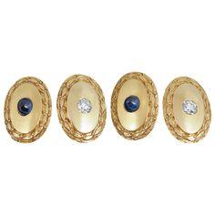 Sapphire, diamond and gold cufflinks, Shreve and co, USA  c.1920