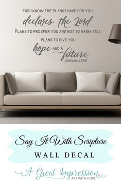 Gods plans for us are much higher than we can ever know! It's because of Him, and through Him, we have hope for the future! This decal is available in 3 sizes and comes in an array of colors.  #scriptureart #jeremiah2911 #christianwallart