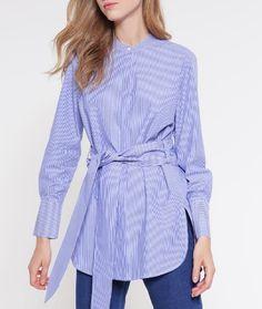 Whistles LARA Koszula w paski niebieska wiązana w pasie blue