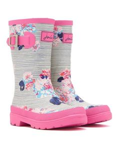 Joules Pink & Gray Floral Stripe Rain Boots