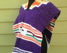 Kids Purple Mexican Saltillo Serape Poncho - Horse Blanket Rug Poncho - Acrylic Wool - Fringe Tassels - Children Ages 5-8 -