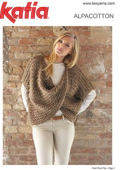 Found this hand knitted yarn at http://www.texyarns.com/alpacotton-twist-front-top/ free pattern
