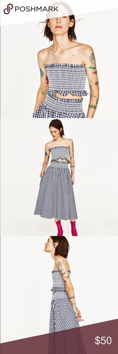 72e9916d874 NWT Zara Gingham Check Two Piece Skort and Top NWT Zara Gingham Check Two  Piece Skort