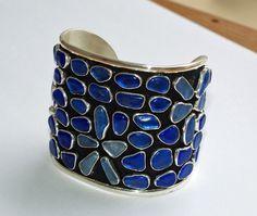 Blue Sea Glass Cuff Bracelet, $900.00