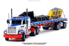 "Builder Ingmar Spijkhoven builds a mean-looking truck, complete with its trailer and a payload with chains to secure them all. Though it's not modelled after any given brand or manufacturer but purely from the builder's imagination, it stands out enough with a very classic ""truck look"" that reminds me of the infamous transformer Optimus Prime …"