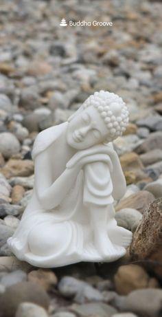 Resting Buddha Garden Statue in Pearl White Finish