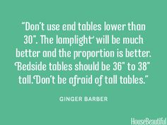 The best end table heights. housebeautiful.com. #designer_quotes #end_tables #side_tables
