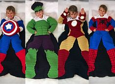 Bundle #1 Superhero Crochet Blanket PATTERNS: Spiderhero, Captain USA, Green Monster, and Metalman