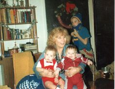 Mom with Johnny & Jaymes their first Christmas 86