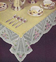 Vintage Crochet Pattern Pansy Flower Filet Tablecloth PansyFiletTablecloth