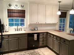 I'm really loving the dark cabinets on bottom (to hide the dirty kid finger prints!) and the light on top to make everything look brighter.